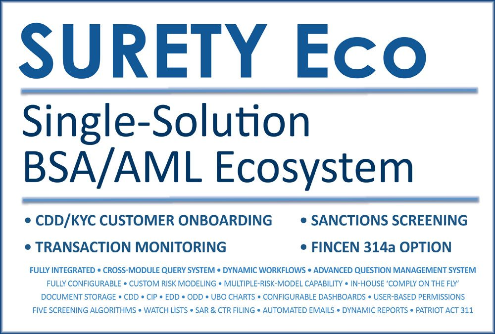 AML Compliance software solution SURETY Eco, the end-to-end AML Compliance Ecosystem