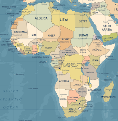 Map of Africa--Many nations and regions have limited access to traditional banking services due to AML and terror-financing risks.